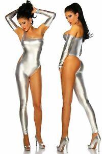 Ladies silver one leg catsuit fancy dress club wear pole dancer size UK 10/12