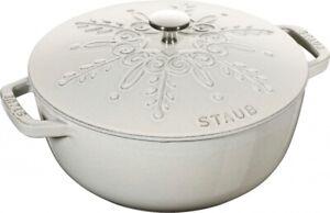 Staub 24cm Round Cast Iron Snowflake French Oven White Truffle