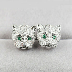 Panther Engagement Wedding Stud Earrings 14K White Gold 2.15 Ct Round Emerald