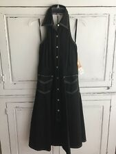 Ralph Lauren Jeans Co Giverny Fashion Manhattan Black Denim Halter Dress Size 6