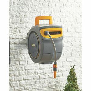 Hozelock Auto Reel Retractable Hose Wall Mounted Auto Rewind watering 30m 10-40m