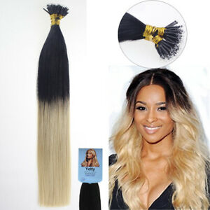 Nano Ring Tip Hair Extensions Silicone Micro Beads Link 100%Real Remy Human Hair