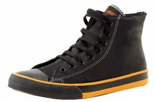 Harley Davidson Men's Nathan D93816 Black/Orange Leather High-Top Sneakers Shoes