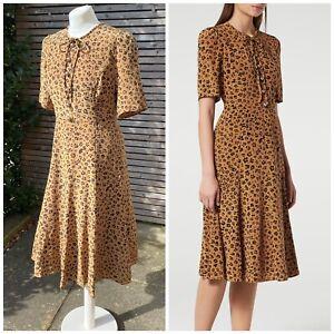 LK Bennett Size 12 Brown Mix Leopard Print Pure Silk Montana Dress Worn Once!