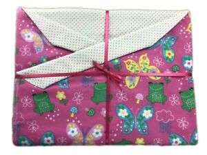 """Happy Frogs & Butterflies Double Flannel Baby/Toddler Blanket 42"""" Sq. Gift"""