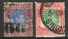 Straits Settlements inscribed MALAYA SINGAPORE 2 Old Stamps $1 & $2 -  Used