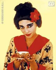 Ladies Black Geisha Girl Wig With Red Flower Oriental Japanese Fancy Dress