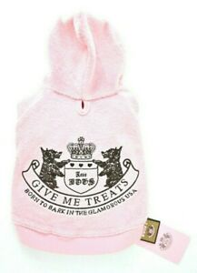 """NWT NEW Juicy Couture Pink Dog Hoodie Shirt Small S Princess """"Give Me Treats"""""""