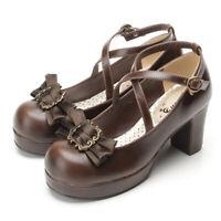 Women Pumps Shoes Lolita Mary Jane Cosplay Platform High Heels Mori Girl Strap