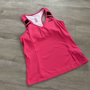 Fila Hot Pink & Black Atheletic Workout Running Tank Top L