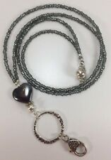 Beaded Lanyard Necklace,ID Pass Holder,Hematite Seed Bead Lanyard, Gifts For Her