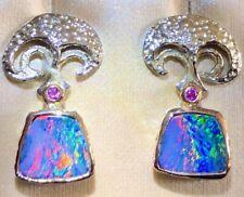 "Spectacular FUN ""SPLASH"" 100% Natural Australian Black Pink Red Opal Earrings"