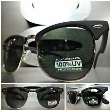 CLASSIC VINTAGE Style SUN GLASSES Matte Black & Silver Fashion Frame Green Lens