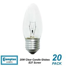 20 x 25W Clear E27 Candle Shaped Light Globes / Bulbs / Lamps Screw
