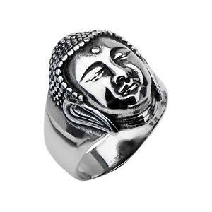 INOX Buddha Head Men's Quality Stainless Steel Ring New in Velvet Gift Pouch 10