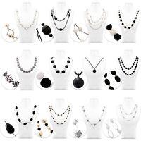 Halskette Kette Collier Muster Damen Grau Weiß Schwarz Modeschmuck Perlen Lang