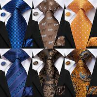 Blue Mens Striped Tie Brown Floral Necktie Set 100%Silk Gold Orange Paisley Ties