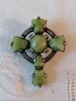 Vintage Miracle Celtic Cross Green Faux Connemara Pewter Scottish Brooch Pendant