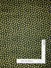 Christmas Fabric - Gold Gild Snowflakes Toss Dark Green #1505-G9 Makower - Yard