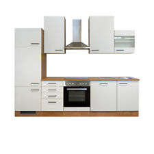 Küchenzeile Küchenblock Einbauküche Elektro-Geräte 280 cm creme matt beige