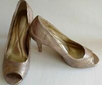 Andrew Geller Champagne Tagalong Open Toe Pumps brand new size 8.5