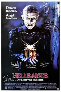 Clive Barker, Doug Bradley & Hellraiser Cast Autographed Movie Poster ASI Proof