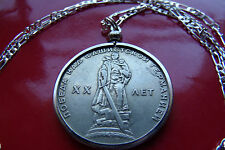 """1965 USSR Russian Warrior Victory Rouble Pendant on a 24"""" 925 Silver Chain"""