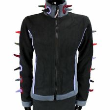 SPIKE FLEECE JACKET EMO GOTH CYBER PUNK SPIKEY FESTIVAL BLACK & MULTICOLOUR
