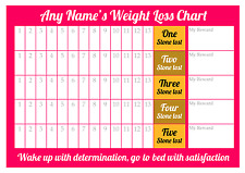 Personalised Weight Loss Chart - 5 stone - Laminated with 1 x sheet of stickers