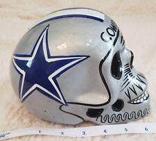 Cowboys Skull Helmet Ceramic Mexican Clay Figure ,Folk Art  Silver