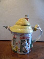 Cute Old Lady in Cottage Ceramic Teapot