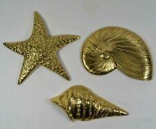 New ListingShiny Yellow Brass Seashell Hanging Wall Decor Gold Tone Metal Nautical