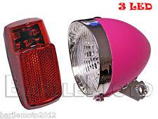 KIT Fanale Luce Anteriore Rosa + Posteriore 3 LED Bici City Bike Donna