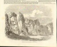 1800s #01-0011 ANTIQUE PRINT (PERSIA) - SEPULCHRAL CAVES - NAKCH--I-ROUSTAN