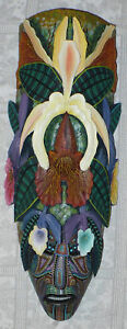 ELABORATE BORUCAN ART CARVING RAINFOREST MASK SIGNED BERNARDO GONZALEZ M