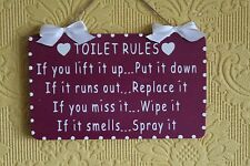Handcrafted TOILET RULES bathroom Wooden Sign/Plaque (White on Vamp Purple)