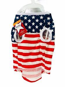 American Flag Dog Shirt Pet Clothes Soft  Medium Patriotic Top Paw