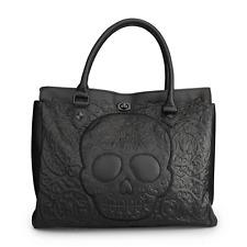 Loungefly Black On Black Lattice Skull Tote Punk Goth Handbag Purse Bag LFTB0413