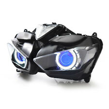 KT LED Angel Eye HID Headlight Assembly for Yamaha YZF R3 2015 2016 2017 Blue