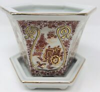 "Vintage 2 Pc Hand-painted Gold Accent Hexagon Jardiniere Planter Pot 4""T x 5.5""W"