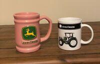 John Deere Mugs MSRF Tractor Mug and Russ Pink Logo Mug/Stein Set of 2 EUC