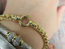 14 KT YELLOW Gold Dreamscape Link Design Bracelet Toggle Michael Anthony NEW