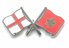 England & Morocco Flags Friendship Courtesy Enamel Lapel Pin Badge