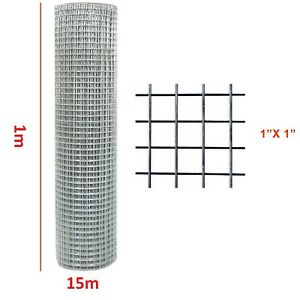 """chicken wire welded mesh aviary fence 1""""x1"""" squire 1m X 15 meter roll '"""