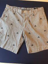 Polo Ralph Lauren skull & crossbones seersucker striped shorts Size 36 EUC
