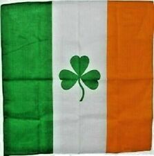 "12 Pack Ireland Shamrock St Pattys Day Flag 100% Cotton Bandana 22""x22"" Bandanna"