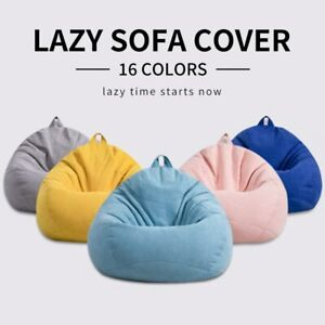 Lazy Sofa Cover Solid Chair Covers without Filler/Inner Bean Bag Pouf