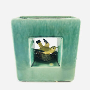 Vintage McCoy Pottery Square Planter Vase Center Cutout with Yellow Bird
