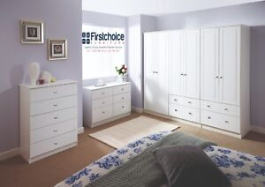 Ready Assembled Chester White Wardrobe Drawers Complete Bedroom Furniture Set