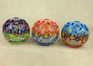 "Turkish Handmade Handpainted Floral Ceramic 4.7"" Candle Holder 3 Piece Set"